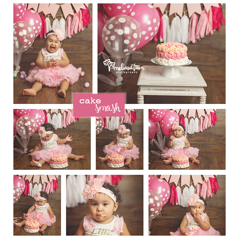 The studio has been buzzing with first birthdays lately ... and we love to end one year photo shoots with a fun cake smash!  This sweet little one brought full on giggles and was oh so adorable in her pink tutu and glitter onesie!  We paired it with all shades of pink banners, polk dot balloons and this gorgeous rosette cake made by her aunt.  Did you know .... our Baby Portrait Plan includes a cake smash photo shoot and we have an array of baby wardrobe available for your portrait sessions.  Even better, our Baby Portrait Plan is currently on promotional pricing ... contact us for more information.