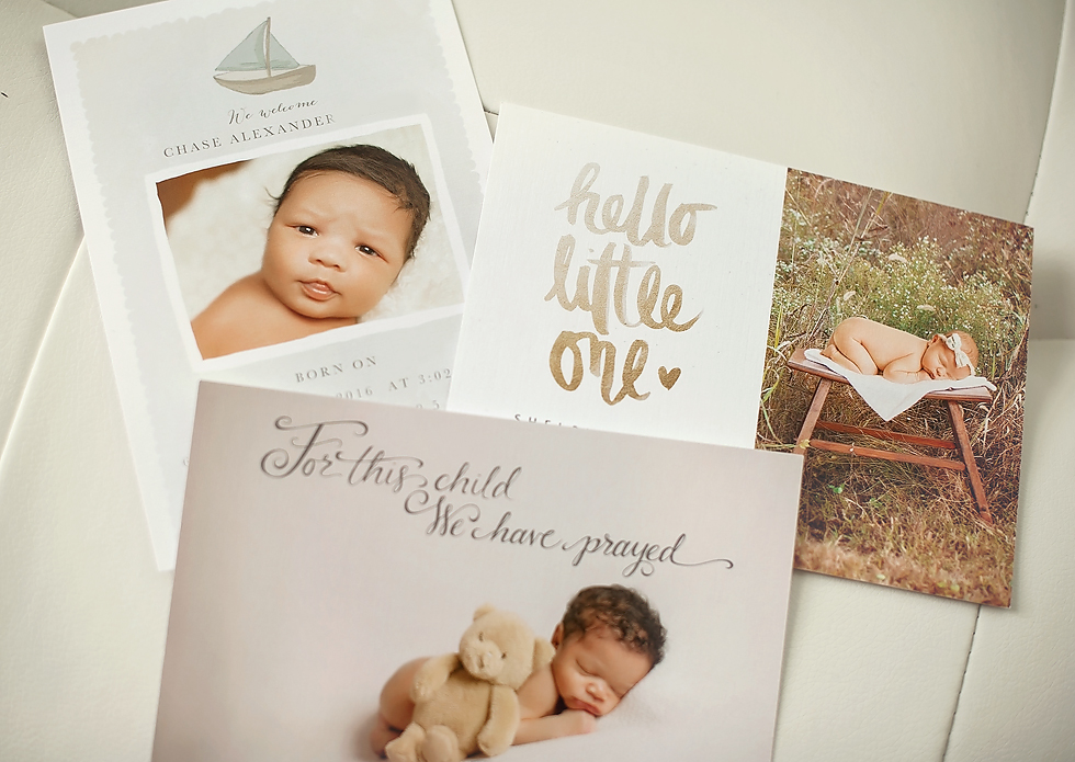 Custom designed birth announcements are part of our Baby Portrait Plan Greensboro Newborn Photographer