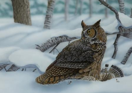 Great-horned Owl with Grouse