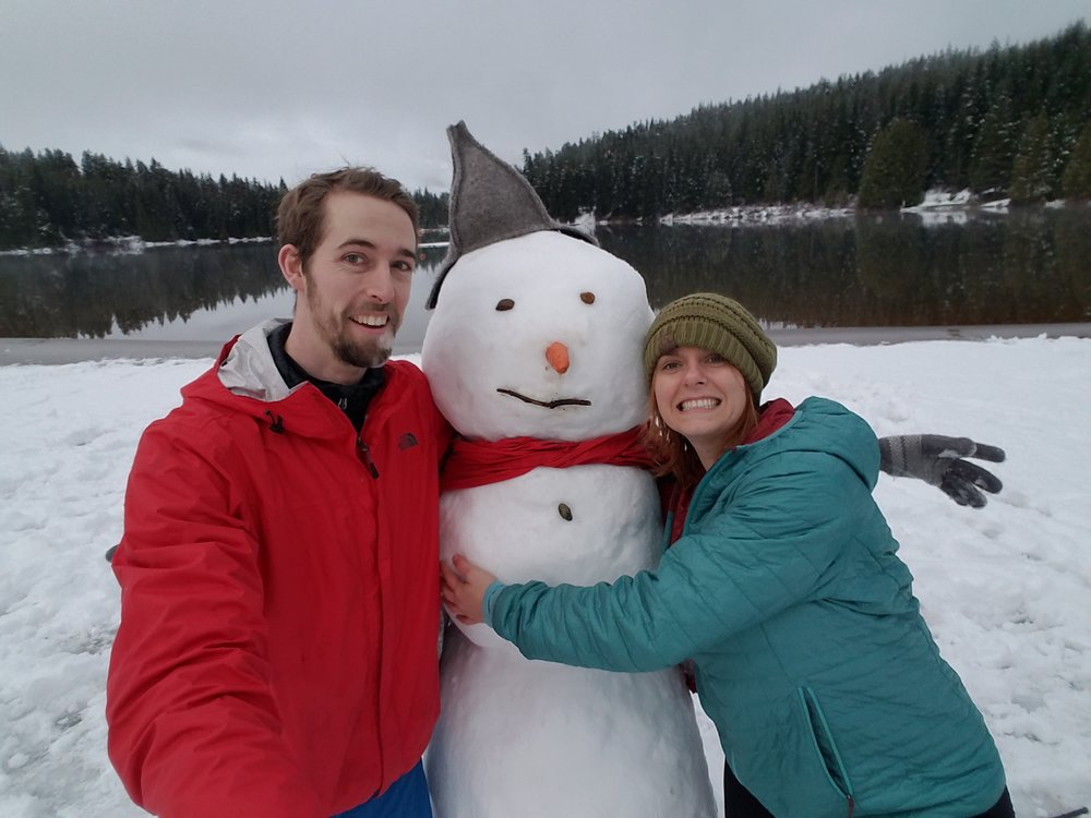 Mary and Llew with a snowman
