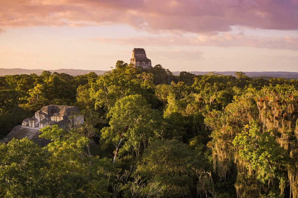 Sunset from the top of one of the pyramids in Tikal
