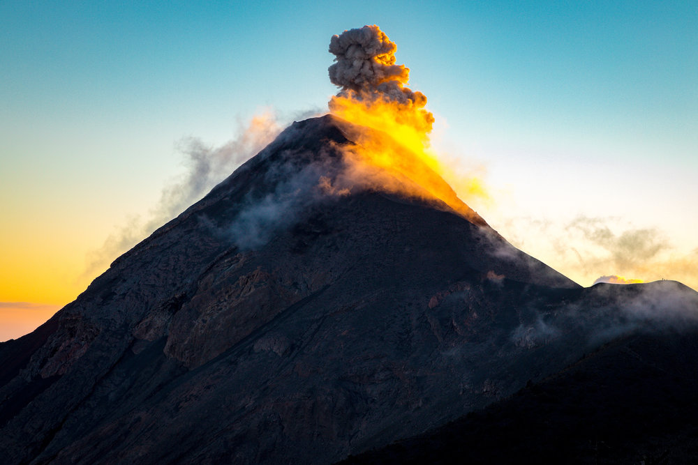 Volcano Fuego is the most active volcano in Central America and at night you can see the lava spewing from the top.