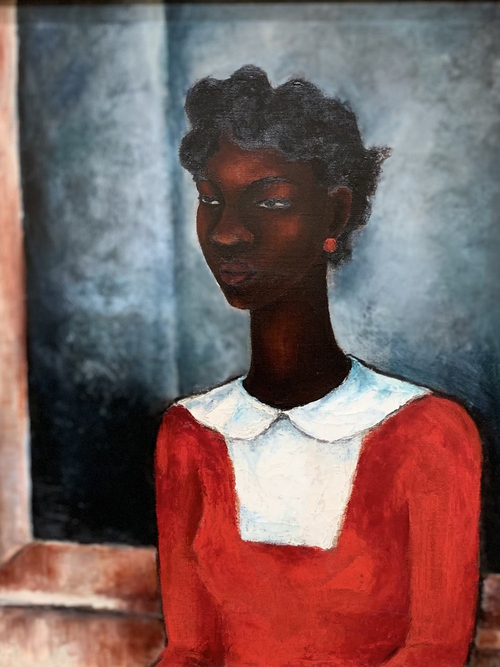 "One of my favorites: Girl in a Red Dress, by Charles Alston, done in 1934.""Defiantly black, beautiful, and feminine, yet also unsettled, mysterious, and utterly modern."" -"