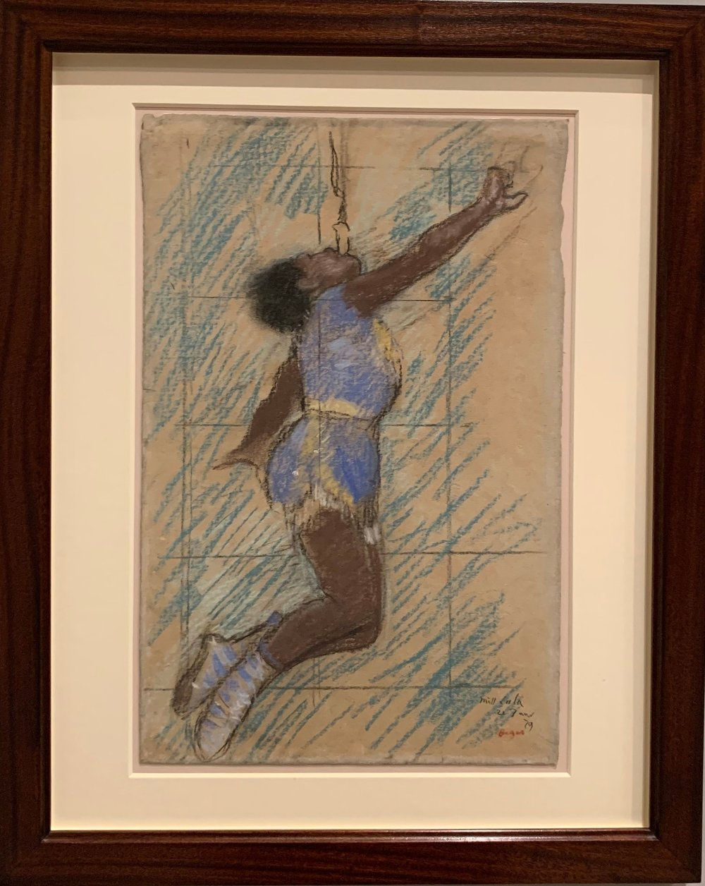 The drawing of Miss La La by Degas, and the final painting. -