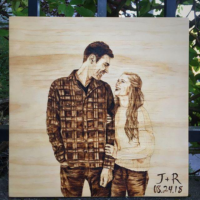 One of my favorite pieces to date for a very lovely couple!  Made with love for the beautiful @rachelkoll ❤️ ▫️ ▫️ ▫️ #customportrait #pyrographyportrait #pyrographyart #pyrographyartist #woodburnedart #woodart #woodenart #woodburned #woodburning #customwork #engagementphoto #seattleart #seattleartist #pnwart #pnwartist #portrait #portraitart #portraitartist #portraitartwork