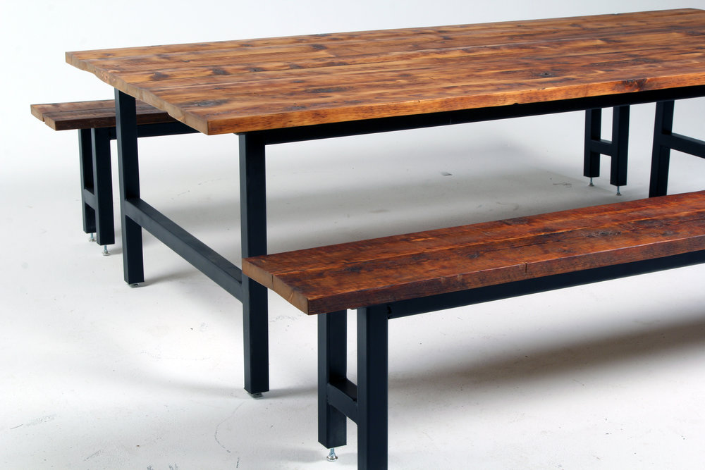 """Dining table with detached matching benches. Wood tops from former framing timbers—the simple design is perfect for both residential and commercial spaces. Table is 46"""" x 96"""" x 30""""."""