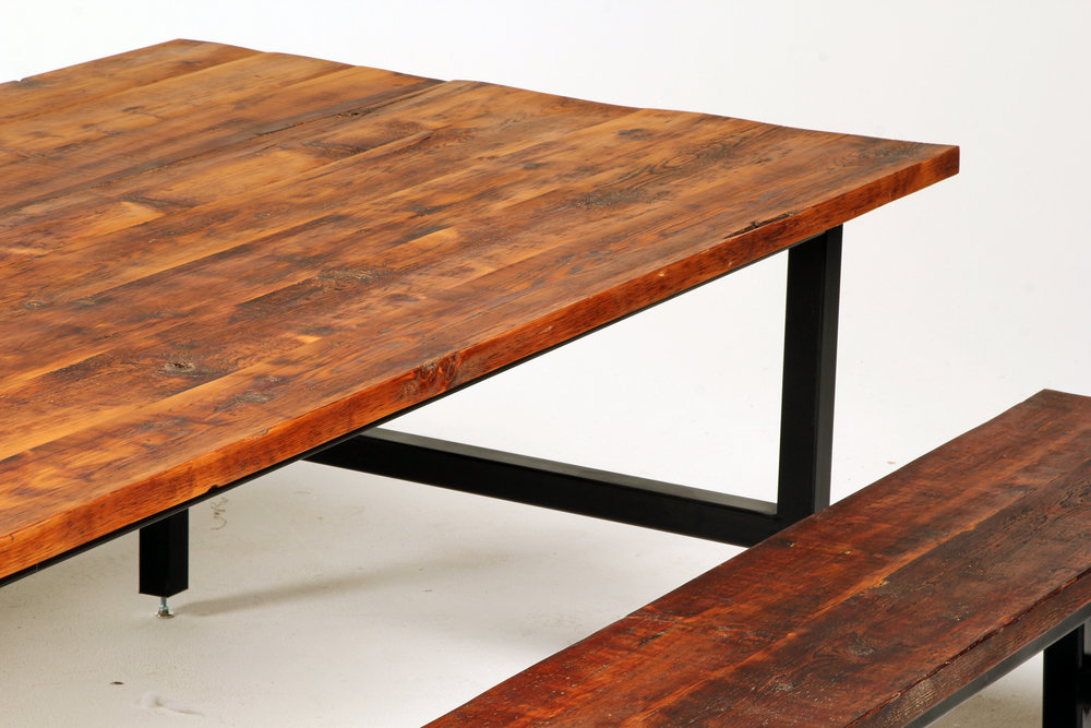 """Dining table with detached matching benches. Metal black powder-coated legs allow for contemporary accent to rustic wood tops. Meant for indoor use only. Benches are 18"""" x 18"""" x 96""""."""