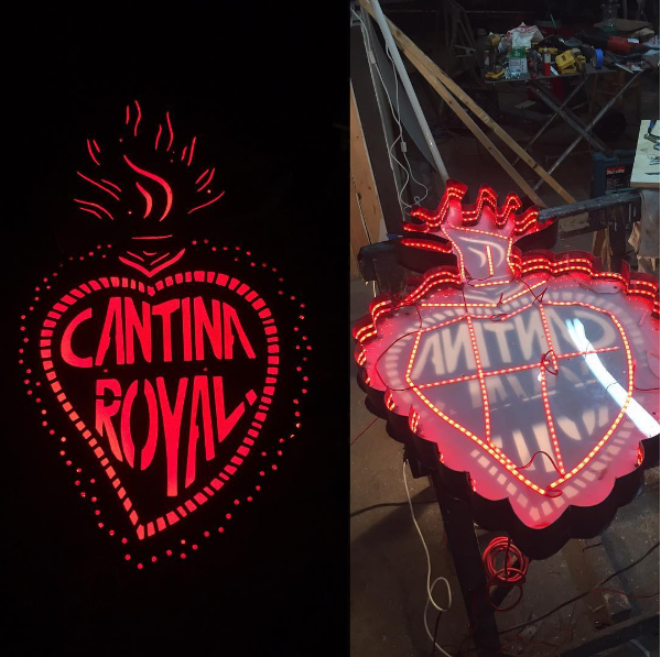 Custom metal sign for Cantina Royal restaurant, Brooklyn. Hand-welded and wired, for outdoor use.