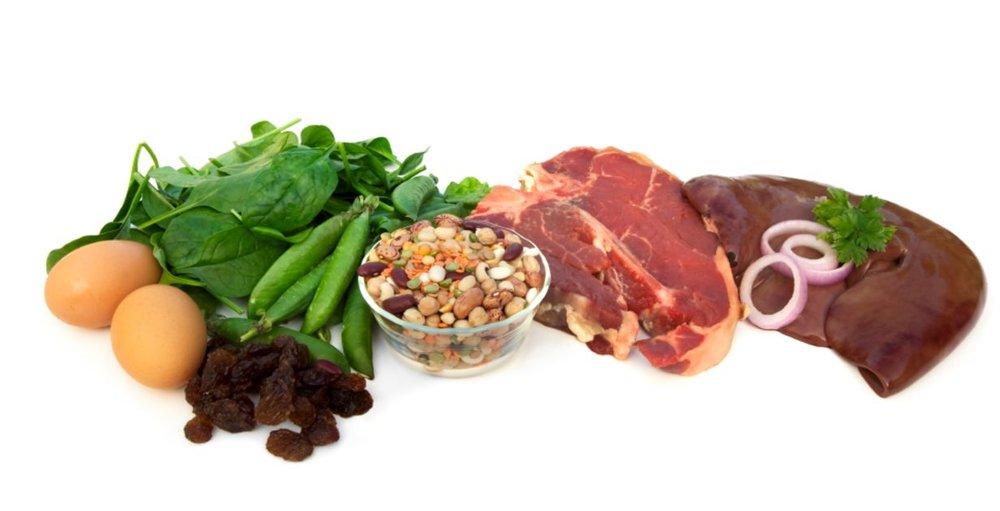 Tässä esimerkkejä rautaa sisältävistä ruoka-aineista.