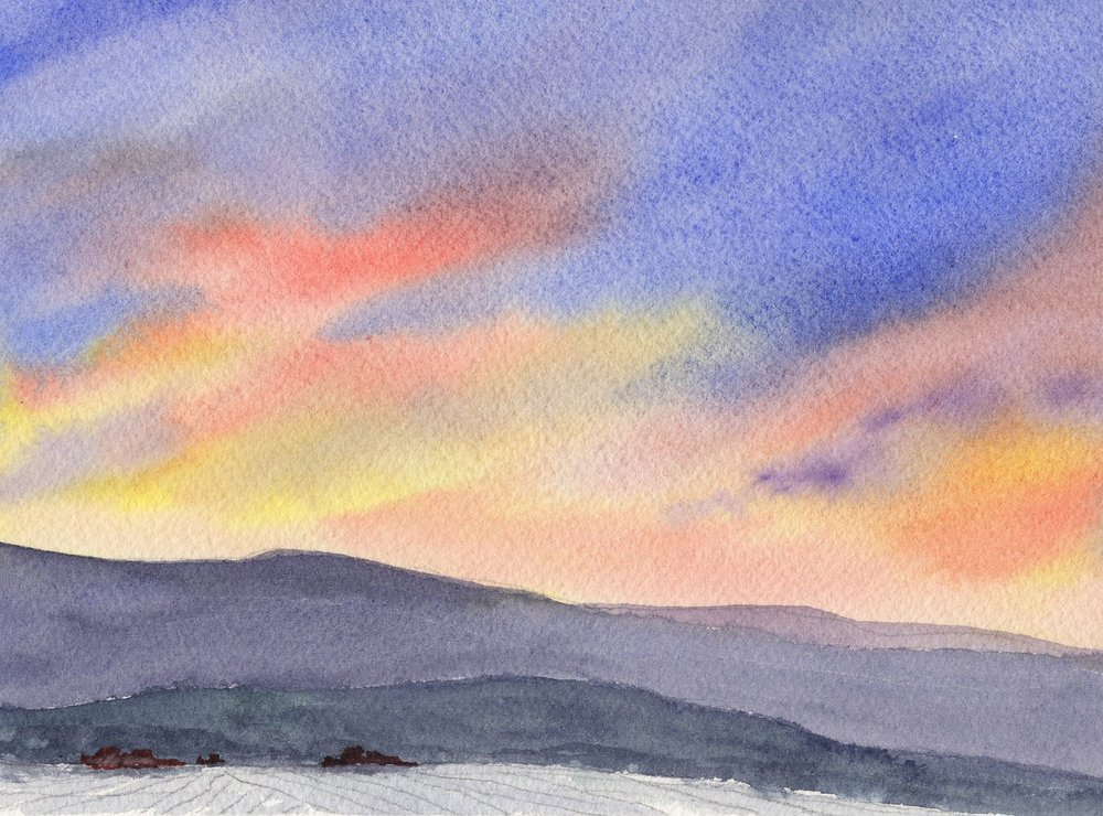 """Evening Inspiration"" (5""x7"" watercolor painting). Part of the ""Places I Call Home"" Exhibition."