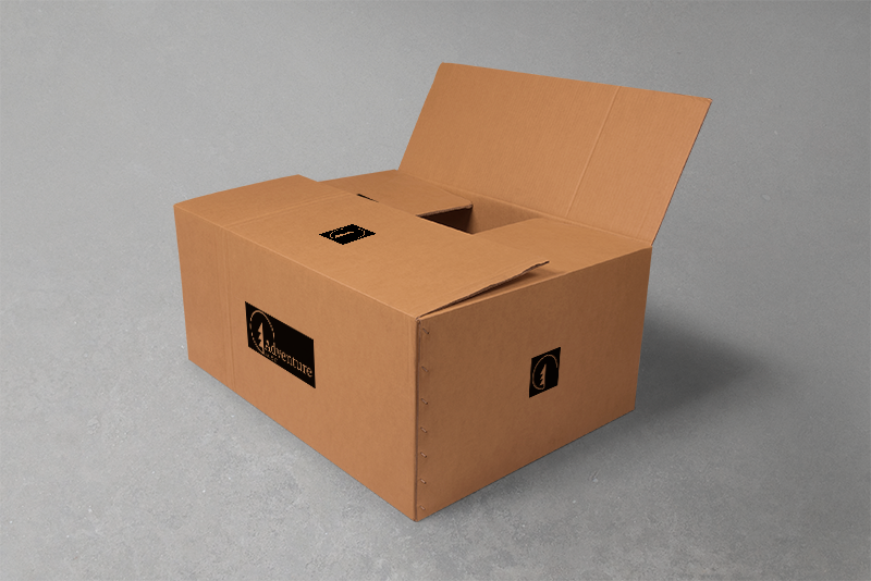 Box branding for the gear or supplies being shipped to a user's home