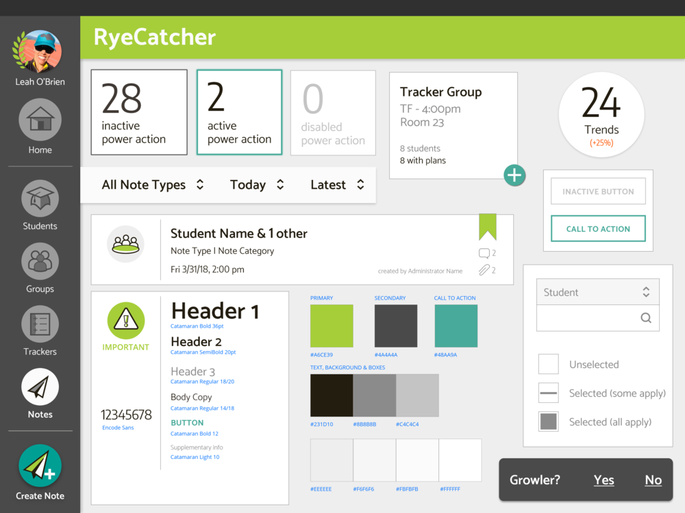 Ryecatcher style tile based on branding, design unification, and usability testing