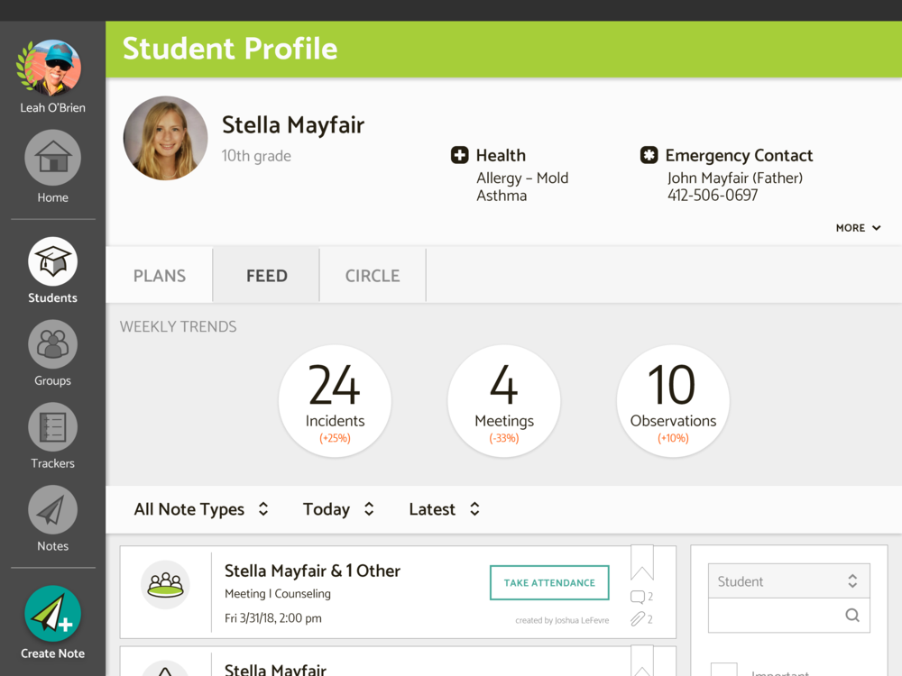 Student profile mock-up