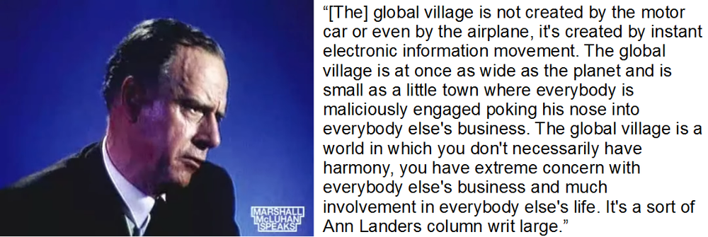 Marshall McLuhan speaking in compilation video  Our present as predicted half a century ago by Marshall McLuhan .  Ask Ann Landers  was a sometimes controversial advice column.