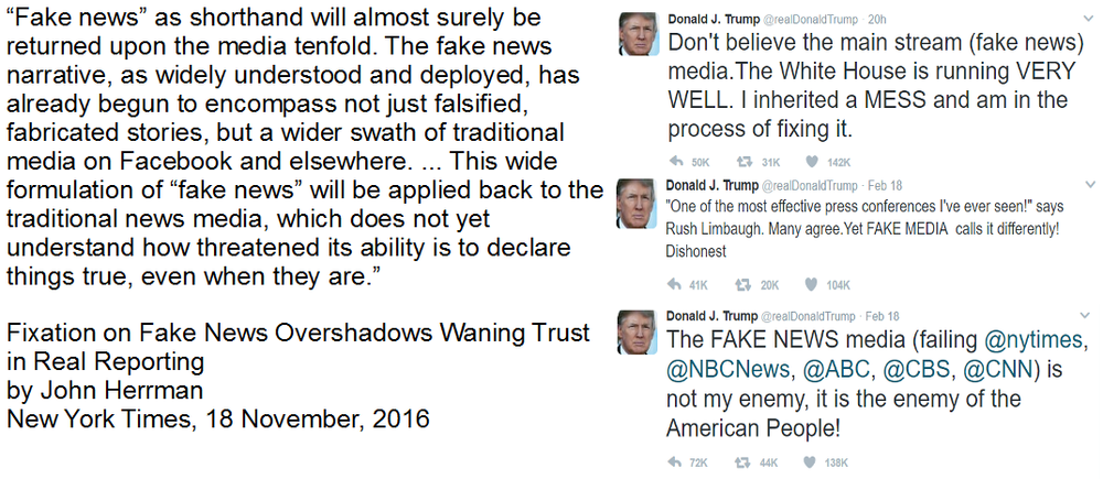 Article source:  New York Times, 18 November, 2016 . Tweets:  @realDonaldTrump from 18 and 19 February, 2017.