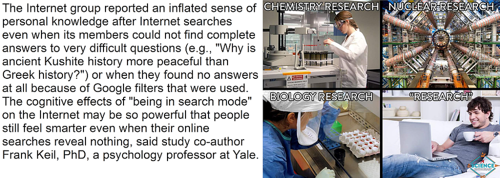 Quote from  Internet searches create illusion of personal knowledge, research finds ,Science Daily, 31 March 2015. Image macro from  A Science Enthusiast .