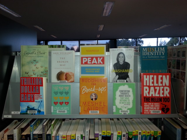 A neat Frontlined non-fiction display. Colour, contrast and space.