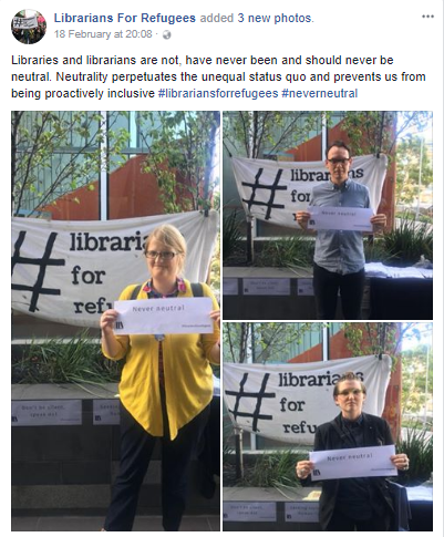 G  uerilla action by Librarians For Refugees at ALIA2018