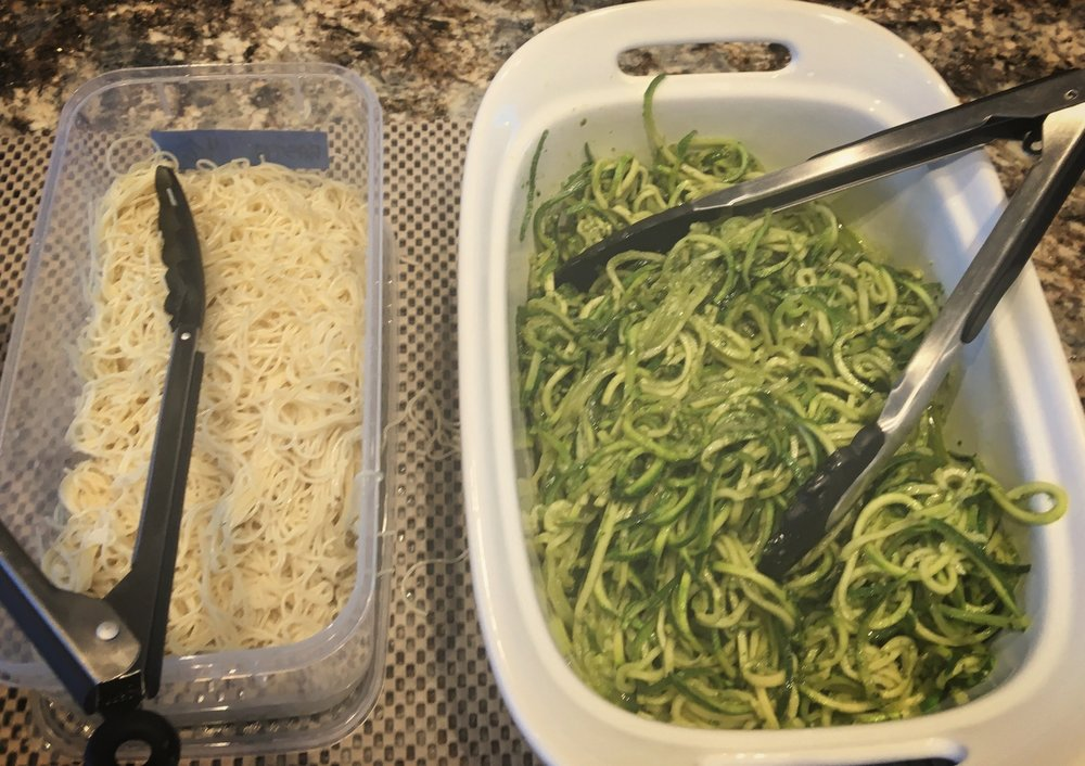 Self explanatory: pasta on the left, zoodles on the right...