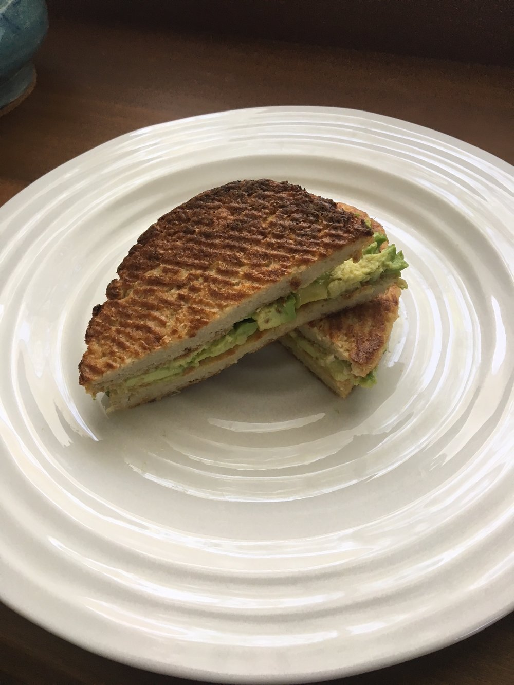 "Smashed avocado cauliflower ""grilled cheese"" sandwich."
