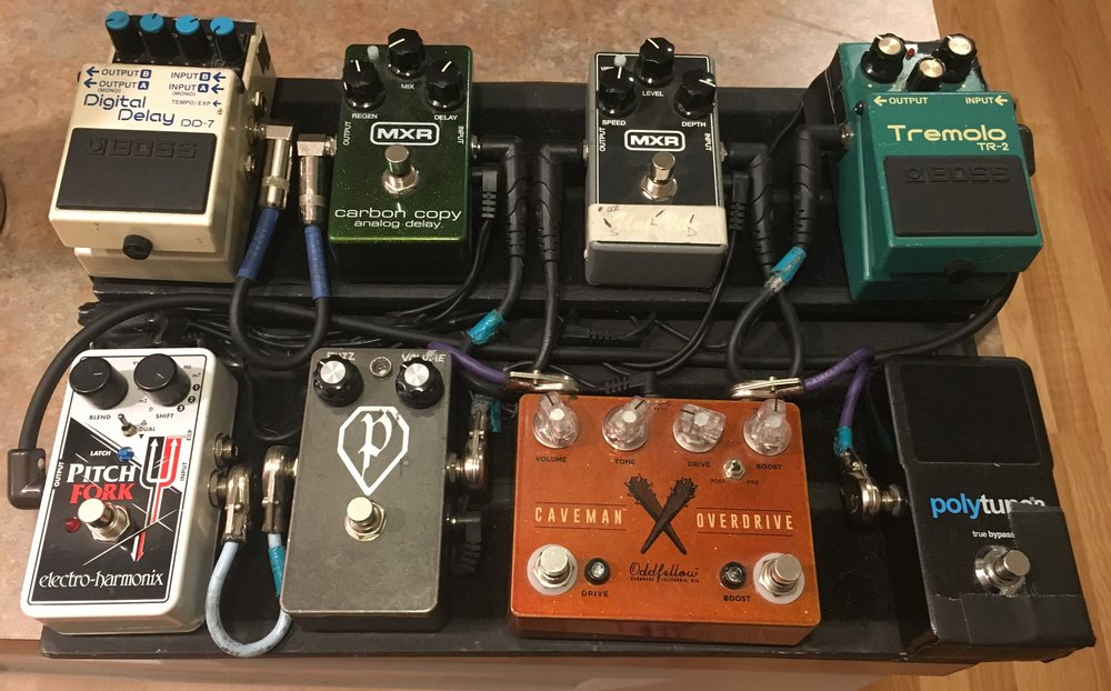 """Electric"" Pedal Board:     TC Electronics  Polytune  /   Effects ""Caveman Overdrive II""  / Paladin Engineering ""Proto-Fuzz""  Electro-Harmonix  ""Pitch Fork"" / Boss TR-2 Tremolo / MXR Univibe /  MXR  Carbon Copy Delay /  Boss   DD-7 Digital Delay"