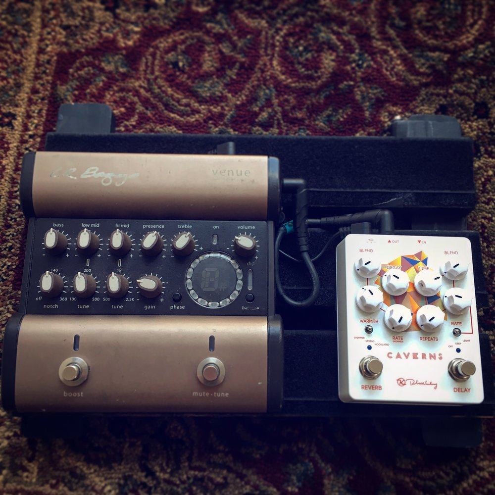 """Acoustic"" Pedal Board:    L.R. Baggs  Venue EQ & DI   Keeley  ""Caverns II"" Reverb & Delay"