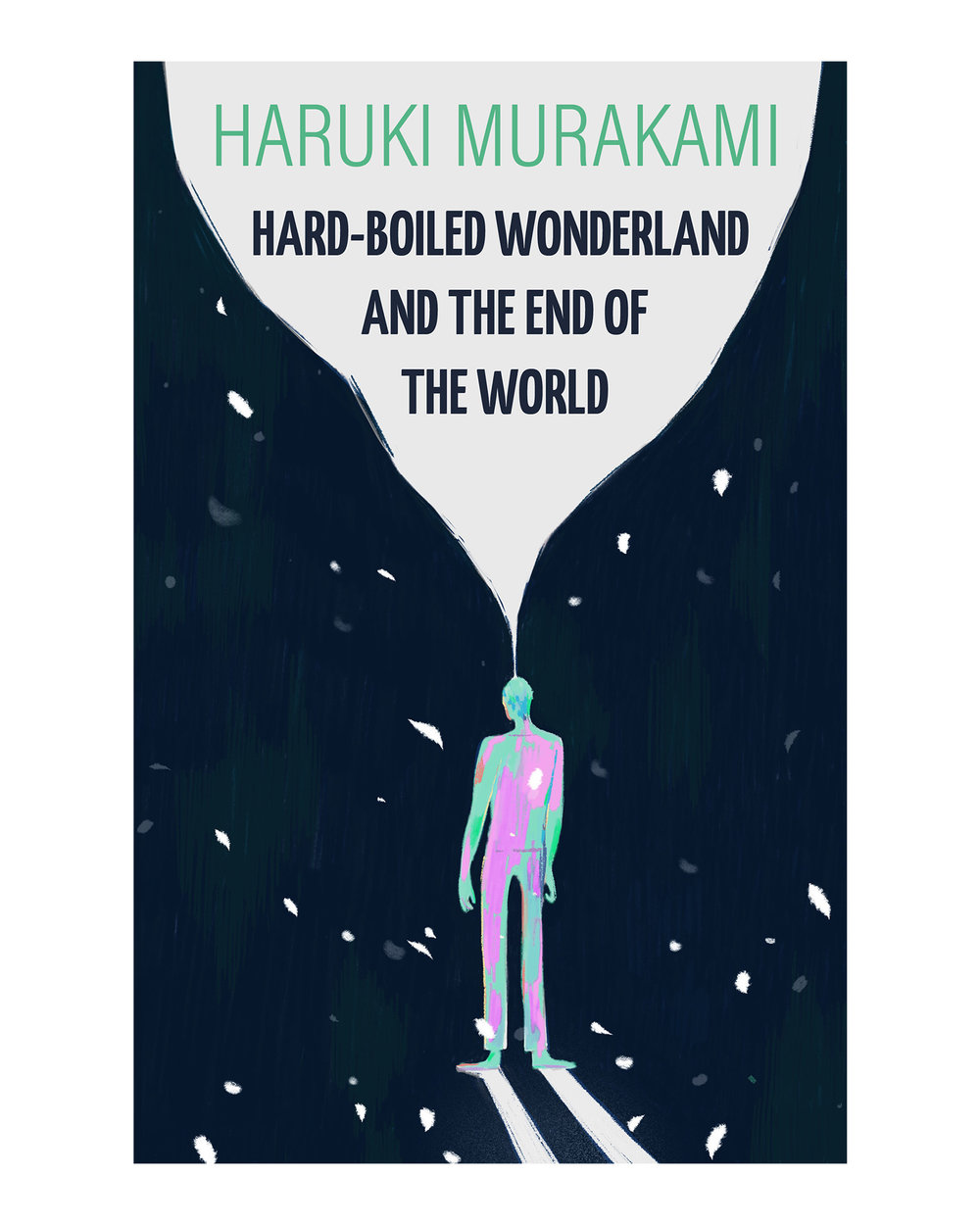 A mock book cover design for Haruki Murakami's  Hard-Boiled Wonderland and the End of the World.