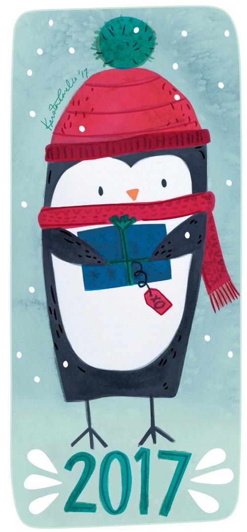 Penguin Christmas card 2017 ©KristenCavalloIllustration