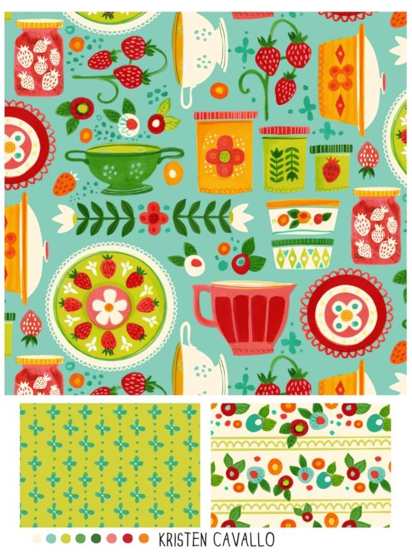 Custom kitchen fabric repeat and coordinates ©KristenCavalloIllustration