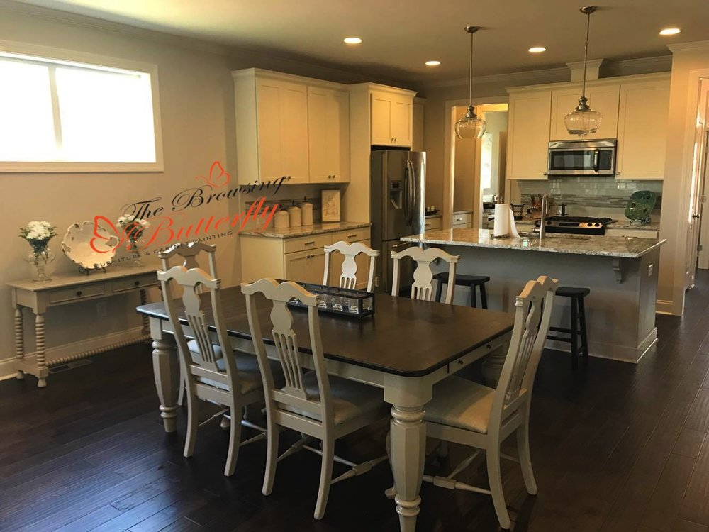 Becky Lynn Hayes  ·   Recently moved and wanted a new look for my kitchen table. Sue was recommended and the entire process start to finish could not have gone smoother. I wanted the top of the table stained to match the color of the wood floor, but the legs of the table and the chairs painted to match the color of the kitchen island. She assisted me with matching up the colors to ensure a cohesive look, recovered the fabric seats and even painted a side table for me. Once completed it turned out even better than I expected. I highly recommend Sue and will definitely be using her again!