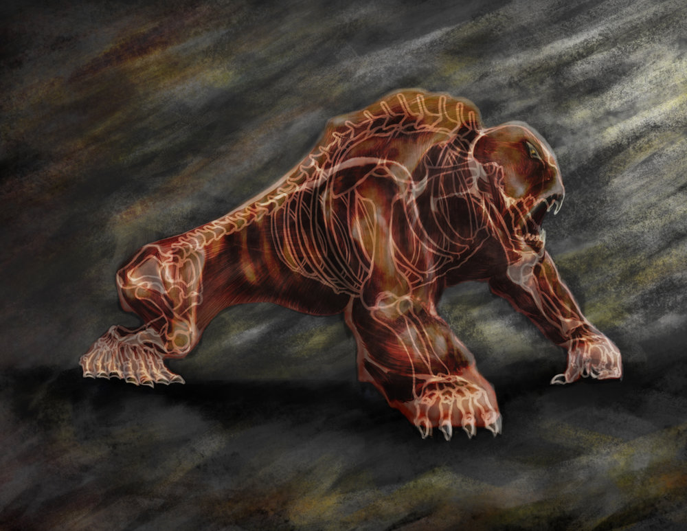 Jungle hybrid creature - Xray vision of flesh, muscle and bones.
