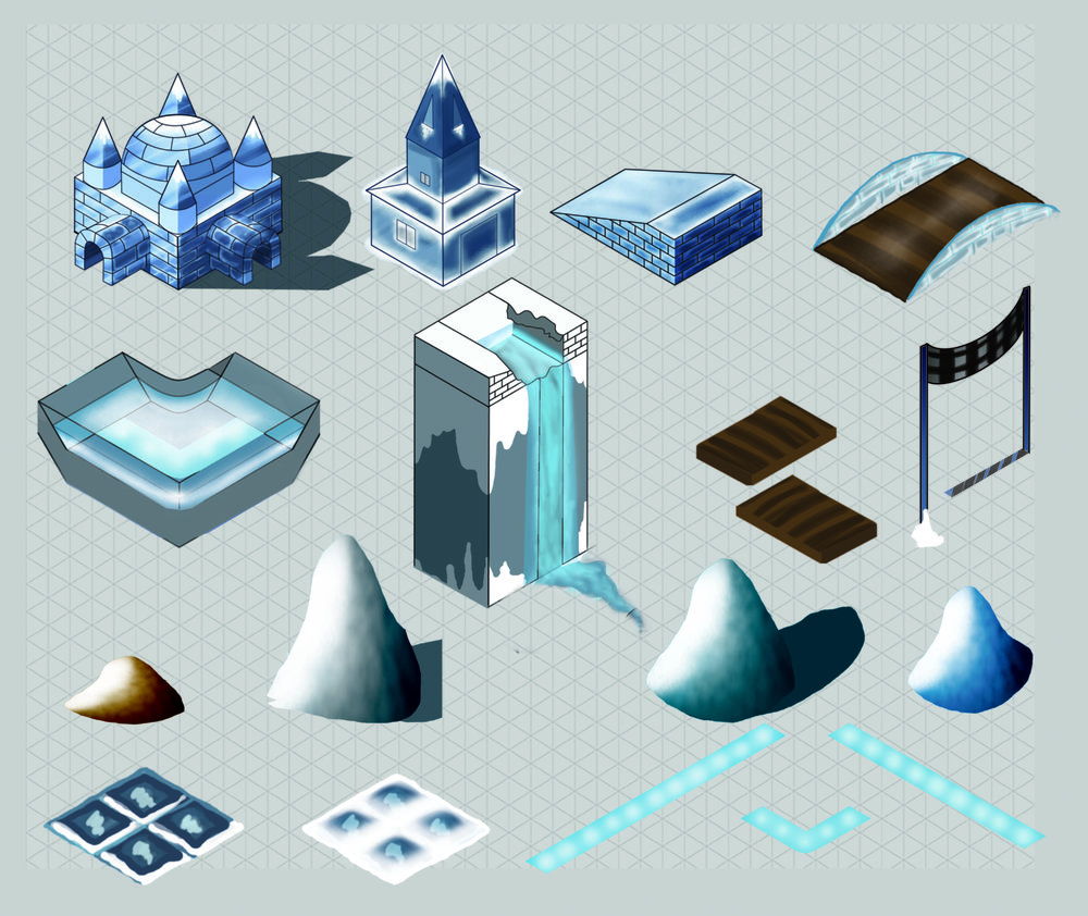 Ipad winter race game - full render of most assets