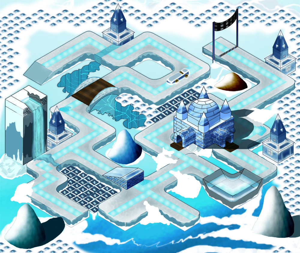 Ipad winter race game - final render composition