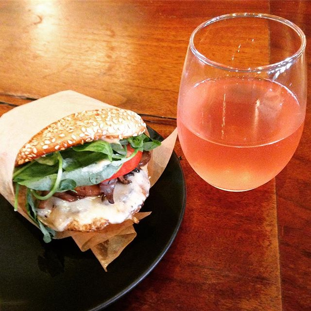 Turkey burger with kombucha. Roam Burgers in Cow Hollow SF. Good place for a healthy-ish skip meal.