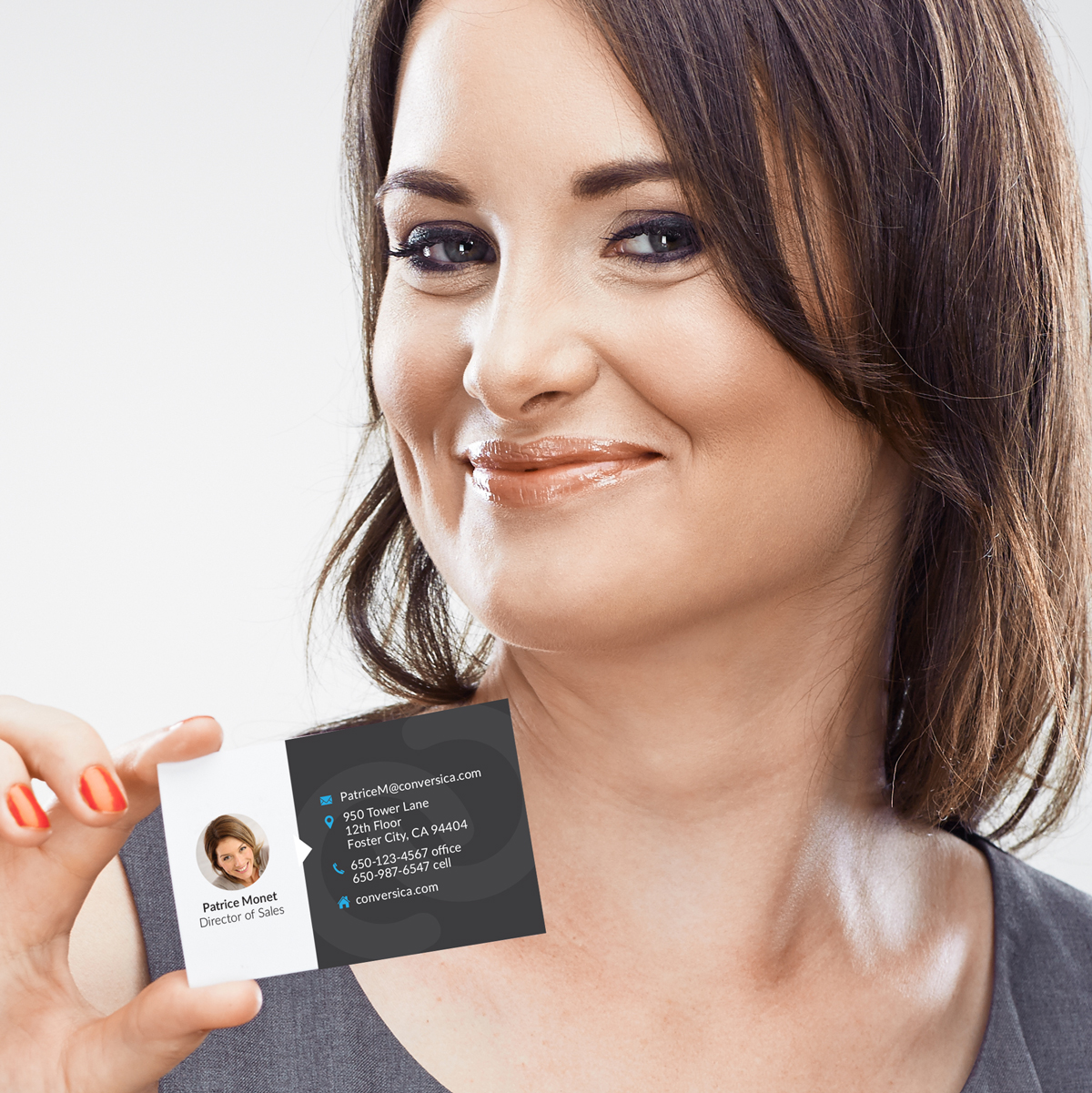 Conversica's ai sales assistant creates an engaging conversation with leads. So the business cards highlight the personal aspect of their solution by showing the person.