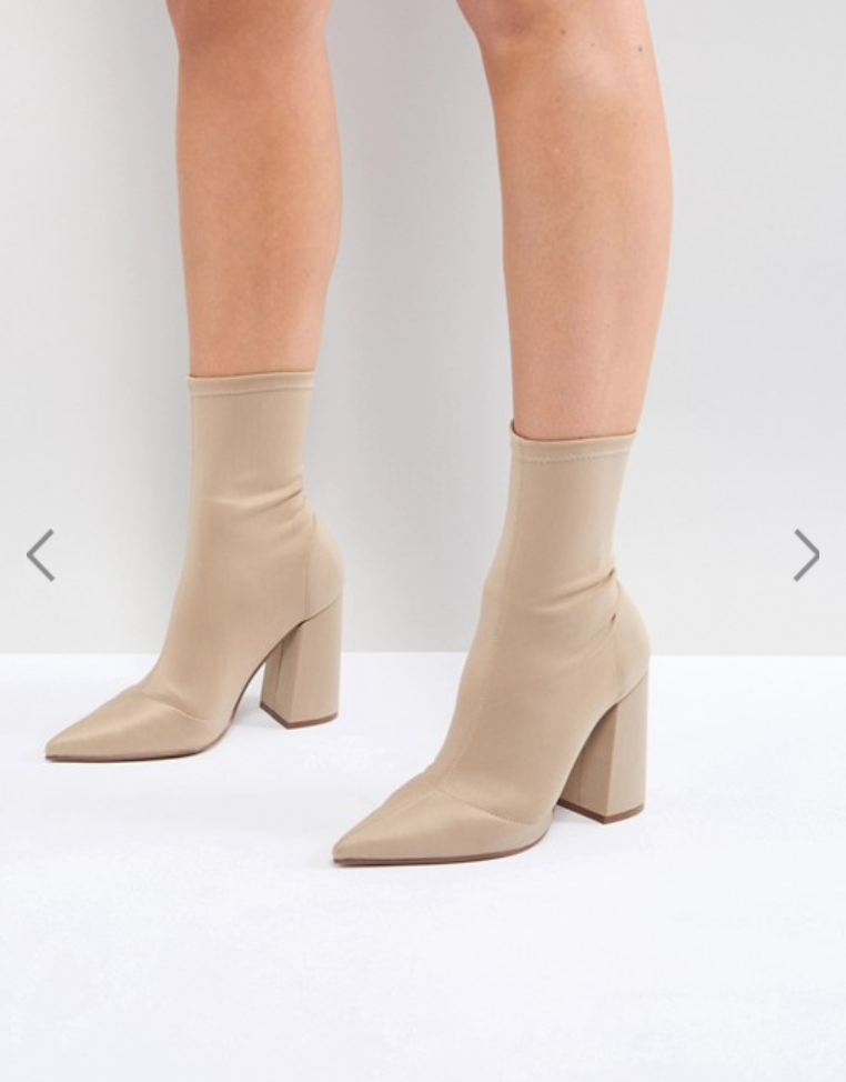 ASOS Ebonie High Heeled Sock Boots - I know, so Kardashian of me, right? I have another pair of sock boots an dI really love them but I need a neutral pair. You're going to see a pattern on what color shoes I'm loving lately lol.