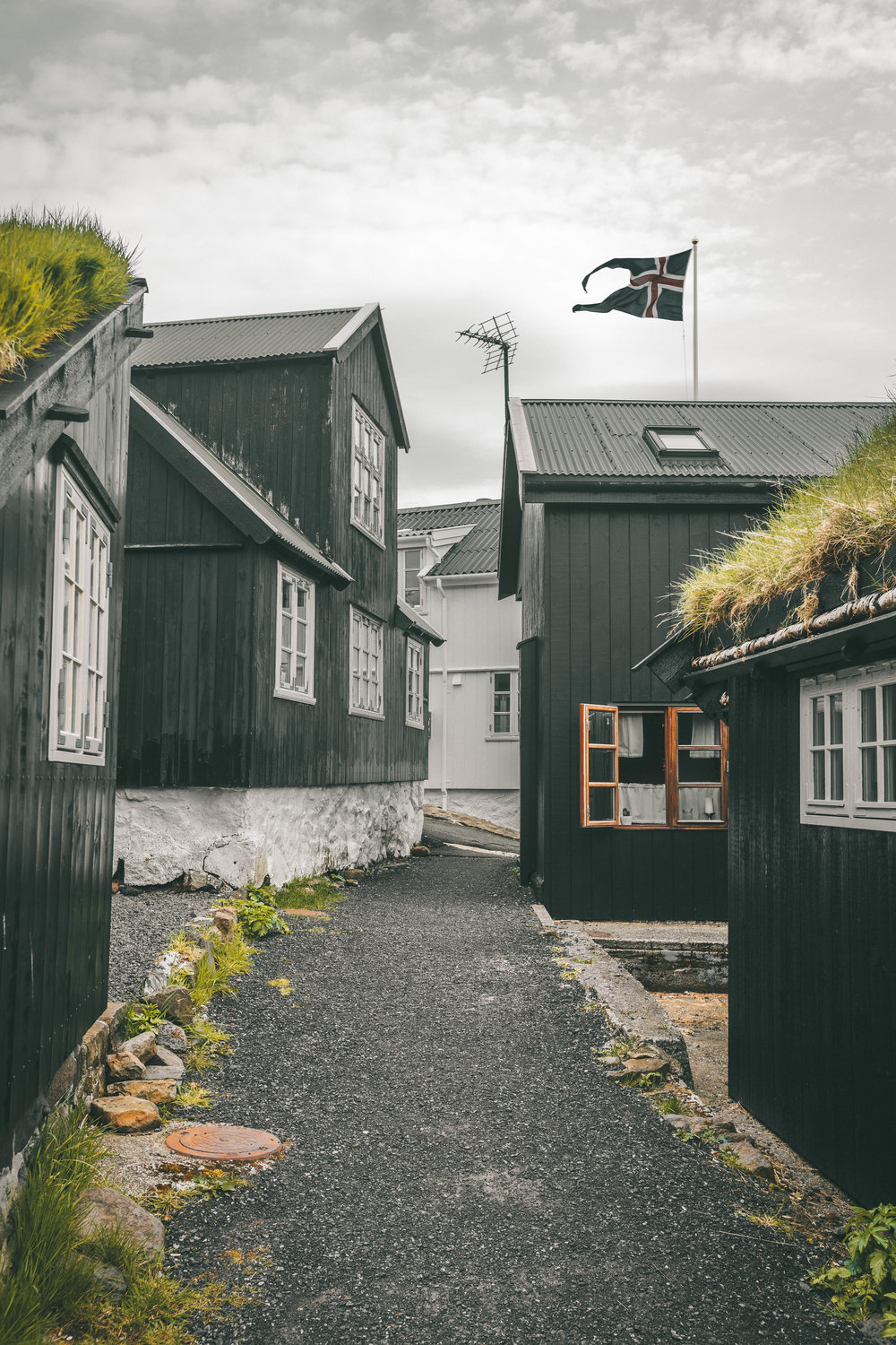 the old town of tinganes in torshavn where the parliament meets