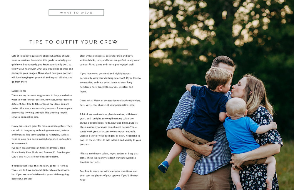 pricing information, client guide, family photographer college station