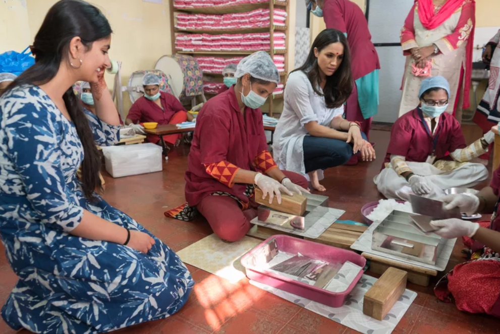 Meghan Markle in India. Photo from TIME magazine, published courtesy of World Vision Canada http://time.com/4694568/meghan-markle-period-stigma/