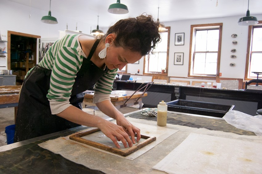 Jody working in the paper making studio at the  Women's Studio Workshop.  Photo courtesy of  Women's Studio Workshop .