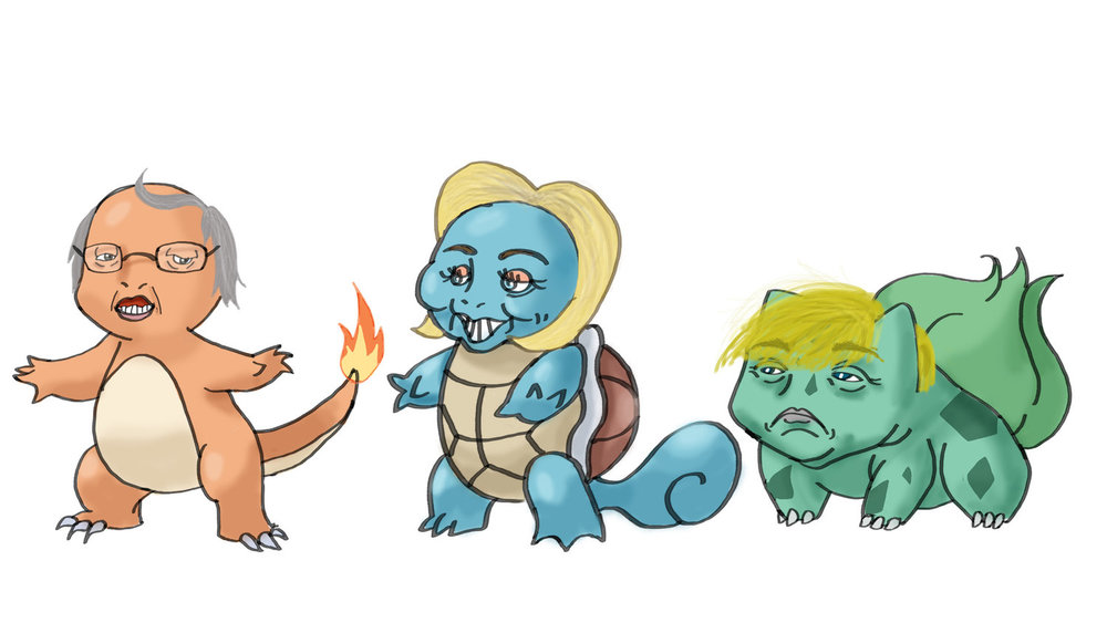 2016 Elections Candidates as Pokemon Starters on Adobe Photoshop