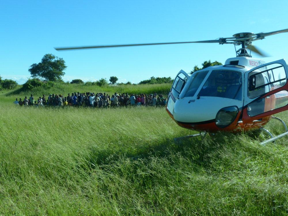 Landing at a Delta village