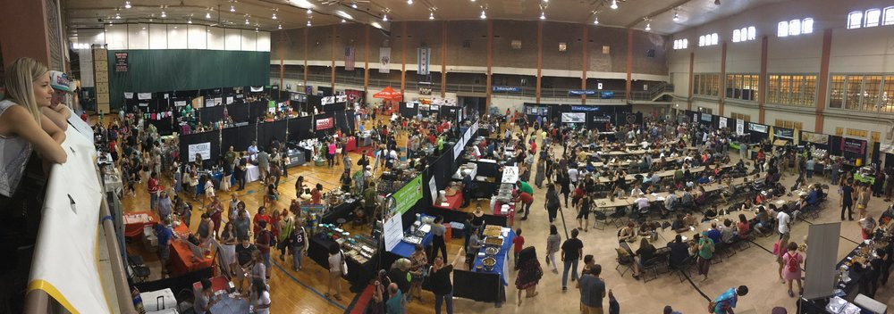 Panoramic shot of our 2017 exhibit hall and food court! Around 5,000 people attended our one day event. Wow!