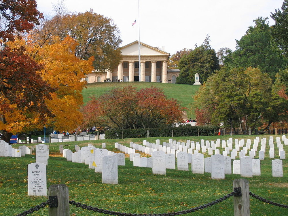 Arlington National Cemetery, former home of General Robert E. Lee which the federal government turned into a cemetery. (Wikipedia)
