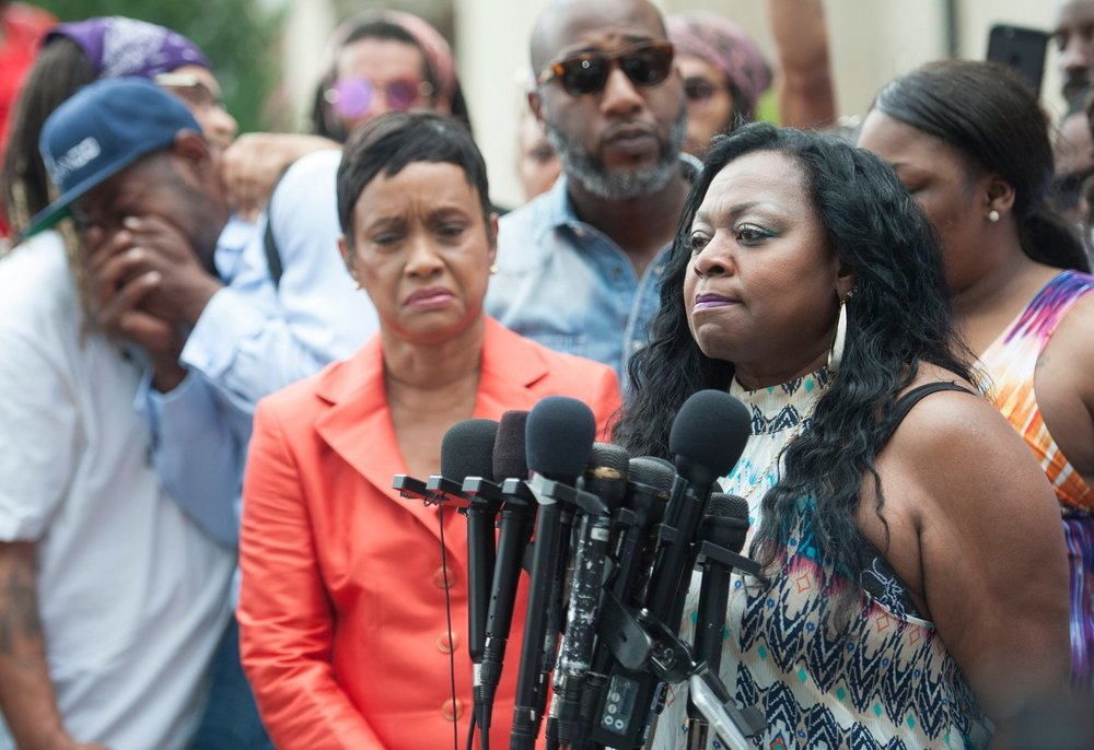 Family of Philando Castile, including his mother, Valerie, respond to the acquittal of his killer. (Craig Lassig/European Pressphoto Agency)