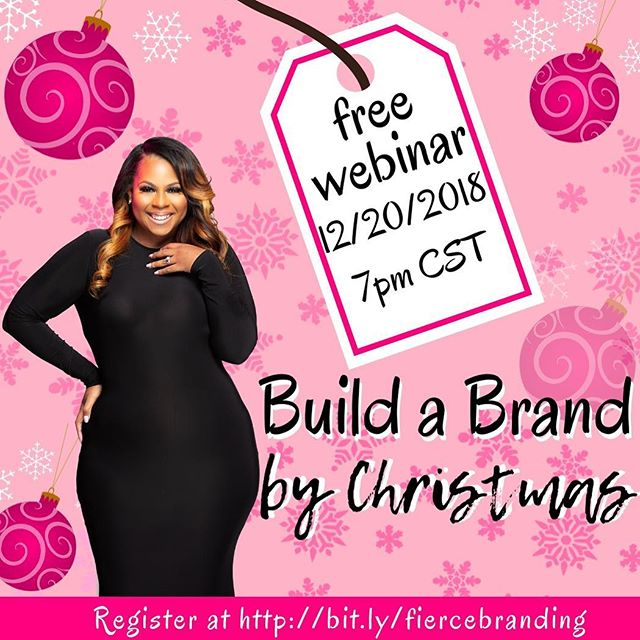 Building an eye catching brand can be simple, IF you know exactly what to do and how to do it. I'm breaking down, step by step, how to build a successful branding strategy right now. Why wait when you attract paying clients before Christmas.  In this intensive webinar you will learn key components of a FIERCE brand:. * Taking inventory of your skills and abilities * Defining signature products * Determining the perfect paying client * Creating a memorable brand personality * Researching the competition * Crafting a compelling brand story * Writing an elevator pitch that converts to sales * AND SO MUCH MORE  Do not delay your purpose any longer... lets WERK.  bit.ly/fiercebranding