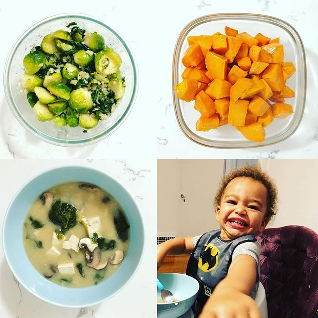 "On a chilly night we do ""Hot & Healthy"" - Organic Brussel Sprouts with Spinach and loads of garlic, Roasted Yams, Homemade Miso Soup (Spinach instead of Seaweed)! All of that get this face: I WILL TAKE IT! #whatstoeat #happyhealthykids #healthyfood #healthylifestyle #vegan #plantstrong"