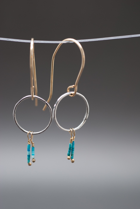 Platinum & 14k Gold Hoops with Turquoise Heishi. 2013
