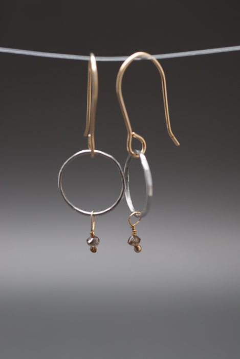 Platinum & 14k Gold Hoops with Brown Diamonds