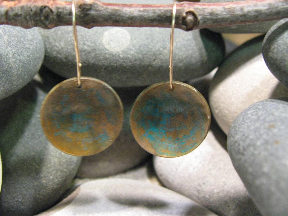 14k Gold & Bronze Engraved Earrings 2011
